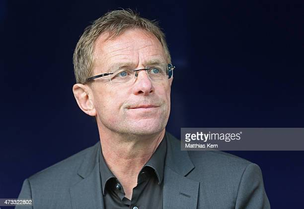 Manager Ralf Rangnick of Leipzig looks on prior to the U19 A Juniors Bundesliga semi final match between RB Leipzig and TSG 1899 Hoffenheim at Red...