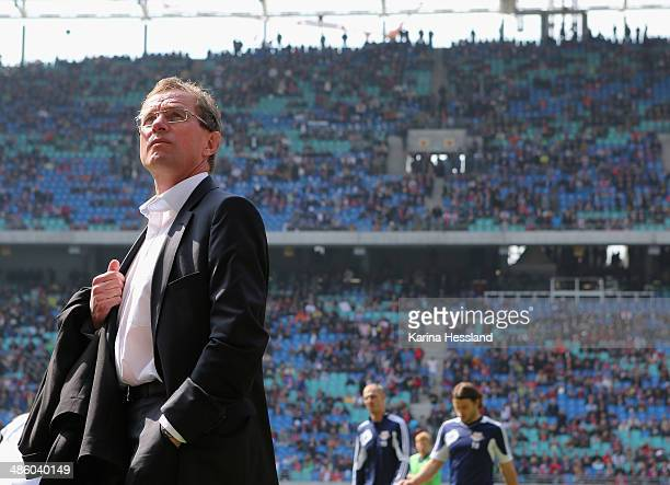 Manager Ralf Rangnick of RB Leipzig during the 3rd Liga match between RB Leipzig and SV Darmstadt at Red Bull Arena on April 19 2014 in Leipzig...