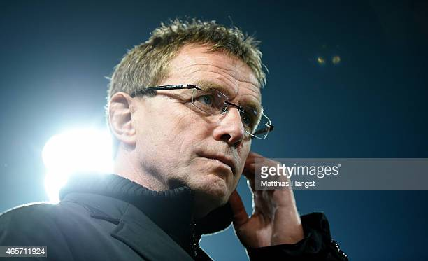 Manager Ralf Rangnick of RB Leipzig seen prior to the Second Bundesliga match between Karlsruher SC and RB Leipzig at Wildpark Stadium on March 9...