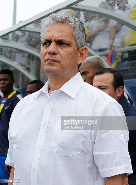 Manager Reinaldo Rueda of Ecuador stands during the playing of the national anthems prior to the game against Germany during an International...