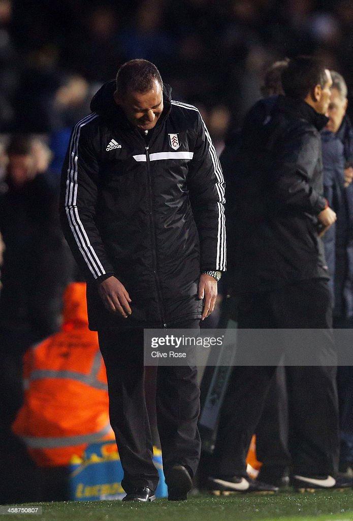Manager Rene Meulensteen of Fulham reacts during the Barclays Premier League match between Fulham and Manchester City at Craven Cottage on December 21, 2013 in London, England.