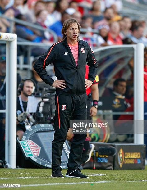 Manager Ricardo Gareca of Peru looks on against Haiti during the Copa America Centenario Group B match at CenturyLink Field on June 4 2016 in Seattle...