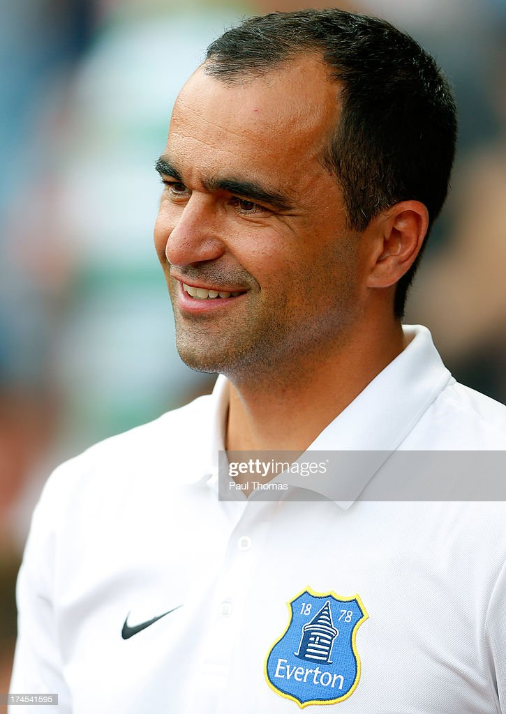 Manager Roberto Martinez of Everton watches the action during the Pre Season Friendly match between Blackburn Rovers and Everton FC at Ewood Park on July 27, 2013 in Blackburn, England