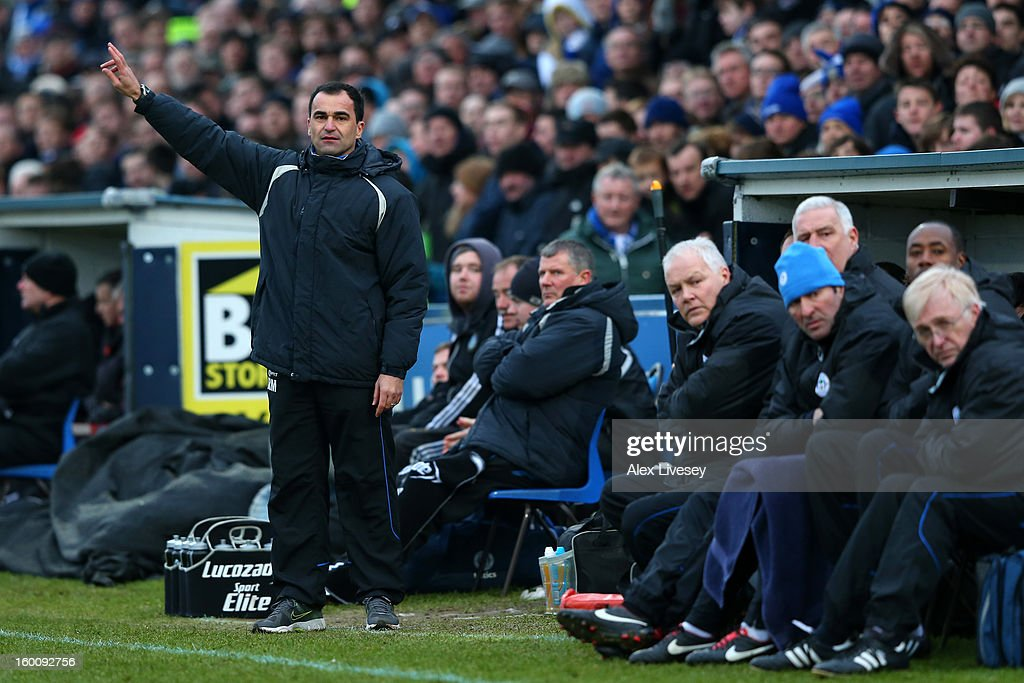 Manager Roberto Martinez of Wigan Athletic gives instructions from the touchline ouduring the Budweiser FA Cup fourth round match between Macclesfield Town and Wigan Athletic at Moss Rose Ground on January 26, 2013 in Macclesfield, England.