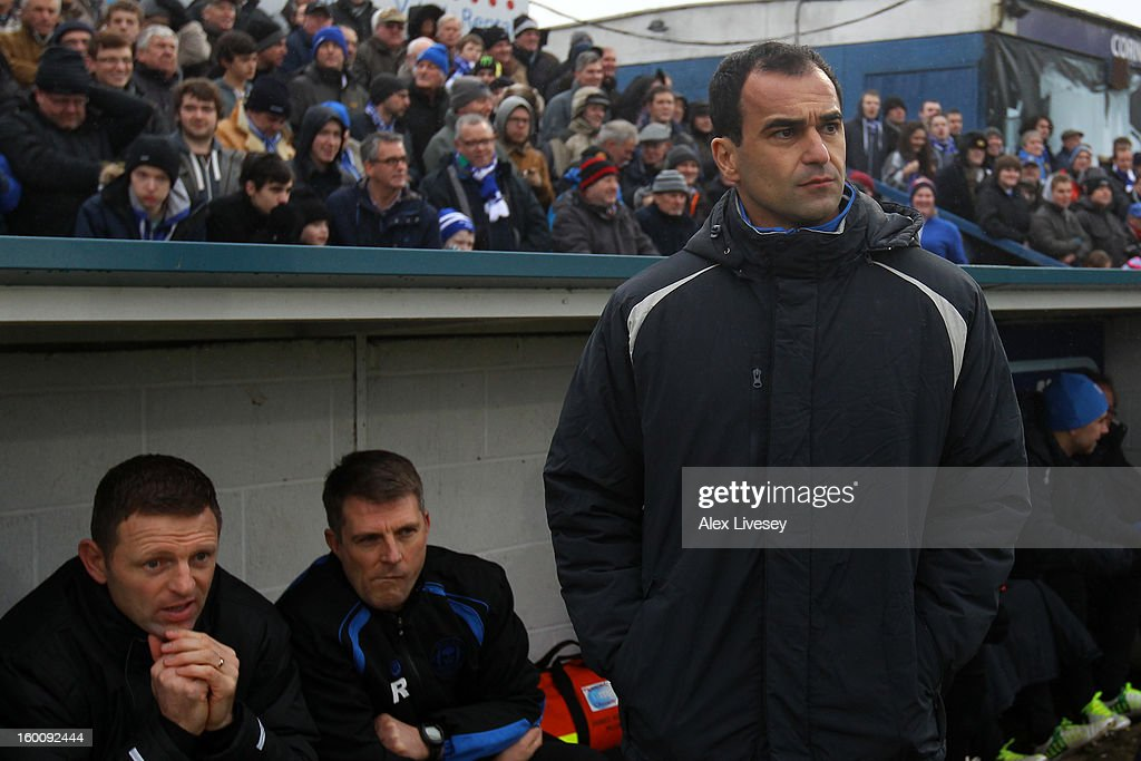 Manager Roberto Martinez of Wigan Athletic looks on ahead of the Budweiser FA Cup fourth round match between Macclesfield Town and Wigan Athletic at Moss Rose Ground on January 26, 2013 in Macclesfield, England.