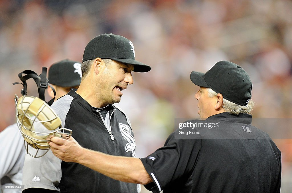 Manager <a gi-track='captionPersonalityLinkClicked' href=/galleries/search?phrase=Robin+Ventura&family=editorial&specificpeople=211486 ng-click='$event.stopPropagation()'>Robin Ventura</a> #23 of the Chicago White Sox argues a call with home plate umpire Tom Hallion in the fourth inning against the Washington Nationals at Nationals Park on April 11, 2013 in Washington, DC.