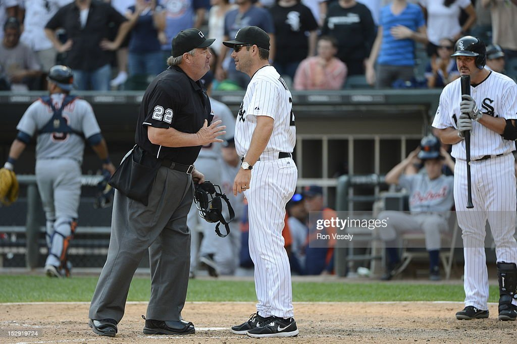 Manager Robin Ventura of the Chicago White Sox argues with home plate umpire Joe West during the game against the Detroit Tigers on September 17 2012...