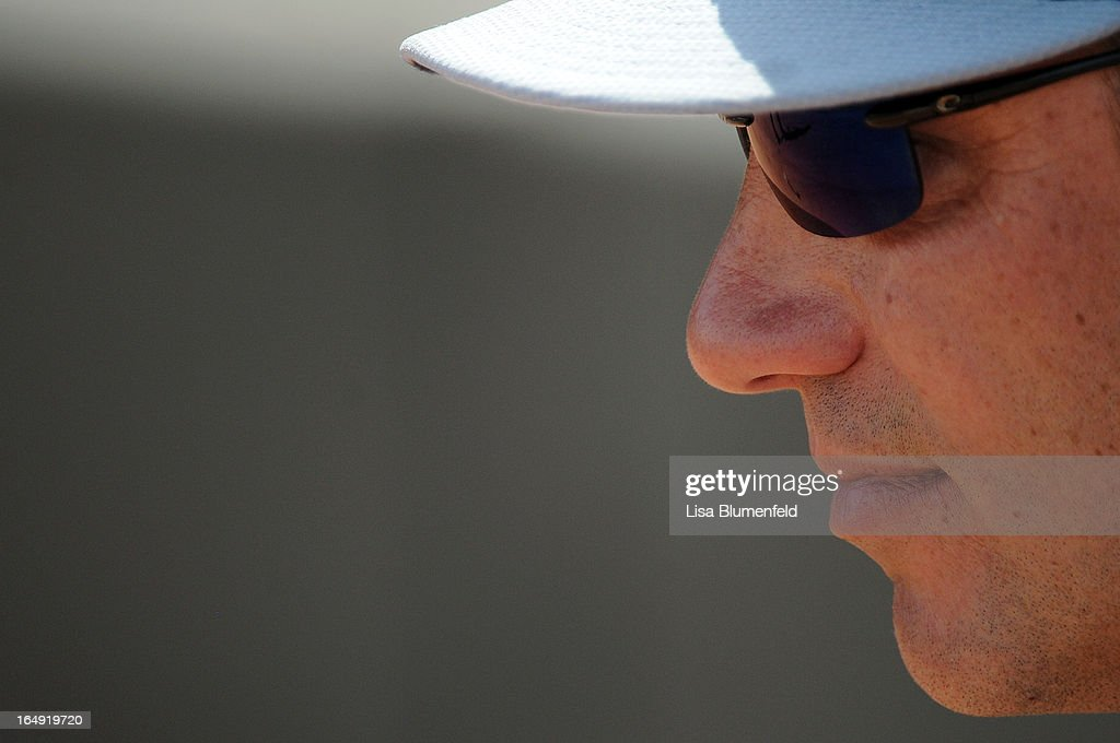 Manager Robin Ventura of the Chicago White Sox looks on during the game against the Texas Rangers at Surprise Stadium on March 26, 2013 in Surprise, Arizona.