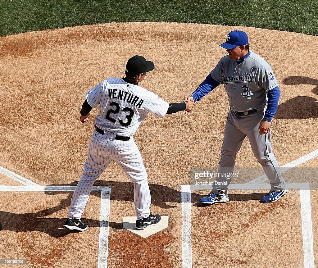 Manager Robin Ventura #23 of the Chicago White Sox shakes hands with Manager Ned Yost #3 of the Kansas City Royals before the Opening Day game at U.S. Cellular Field on April 1, 2013 in Chicago, Illinois.