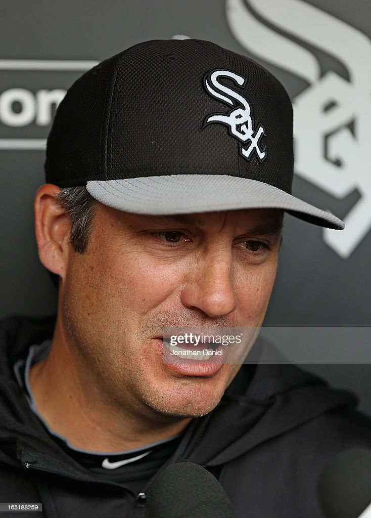 Manager Robin Ventura #23 of the Chicago White Sox talks with the media before the Opening Day game against the Kansas City Royals at U.S. Cellular Field on April 1, 2013 in Chicago, Illinois.