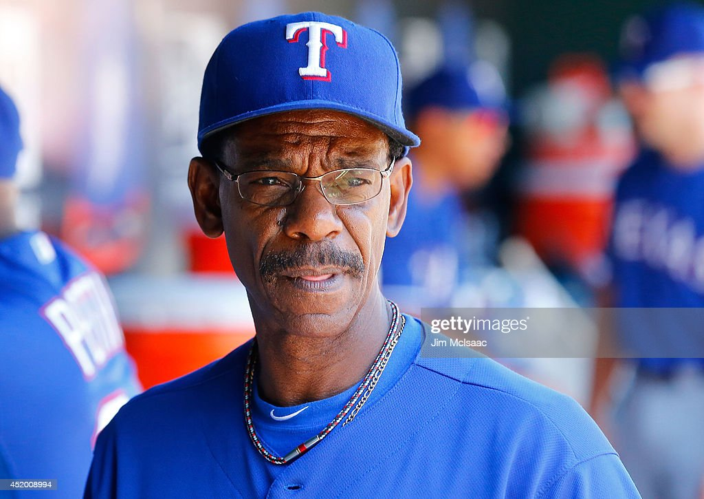 Manager <a gi-track='captionPersonalityLinkClicked' href=/galleries/search?phrase=Ron+Washington&family=editorial&specificpeople=225012 ng-click='$event.stopPropagation()'>Ron Washington</a> #38 of the Texas Rangers looks on against the New York Mets at Citi Field on July 6, 2014 in the Flushing neighborhood of the Queens borough of New York City. The Mets defeated the Rangers 8-4.