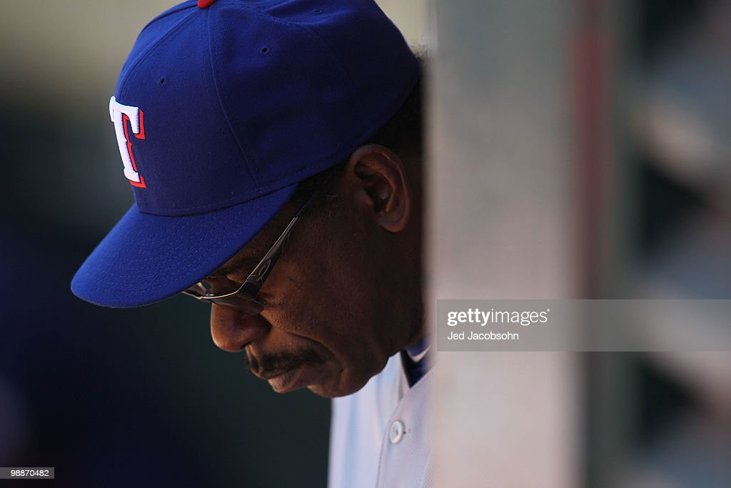 Manager <a gi-track='captionPersonalityLinkClicked' href=/galleries/search?phrase=Ron+Washington&family=editorial&specificpeople=225012 ng-click='$event.stopPropagation()'>Ron Washington</a> of the Texas Rangers looks on against the Oakland Athletics during an MLB game at the Oakland-Alameda County Coliseum on May 5, 2010 in Oakland, California.