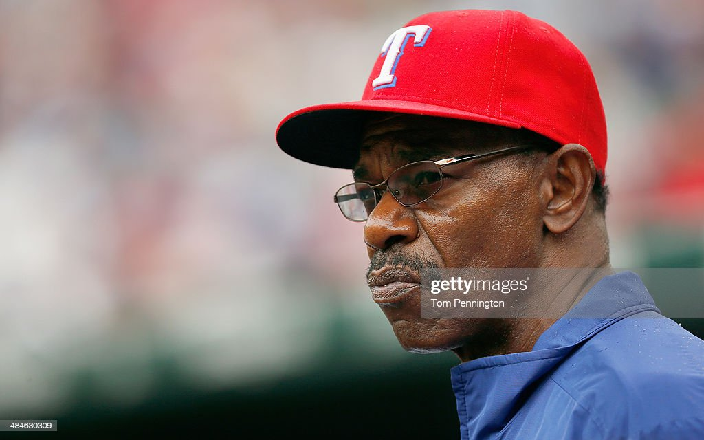 Manager <a gi-track='captionPersonalityLinkClicked' href=/galleries/search?phrase=Ron+Washington&family=editorial&specificpeople=225012 ng-click='$event.stopPropagation()'>Ron Washington</a> #38 of the Texas Rangers looks on as the Texas Rangers take on the Houston Astros at Globe Life Park in Arlington on April 13, 2014 in Arlington, Texas.