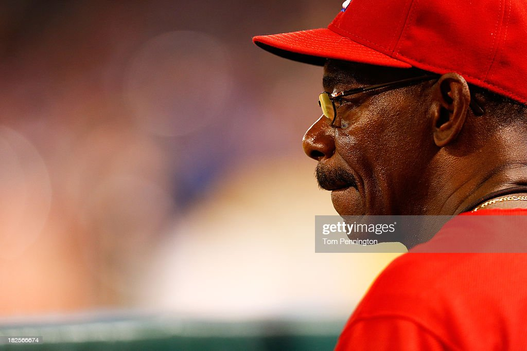 Manager <a gi-track='captionPersonalityLinkClicked' href=/galleries/search?phrase=Ron+Washington&family=editorial&specificpeople=225012 ng-click='$event.stopPropagation()'>Ron Washington</a> #38 of the Texas Rangers looks on during the American League Wild Card tiebreaker game against the Tampa Bay Rays at Rangers Ballpark in Arlington on September 30, 2013 in Arlington, Texas.