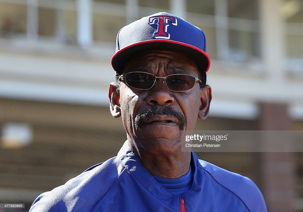 Manager <a gi-track='captionPersonalityLinkClicked' href=/galleries/search?phrase=Ron+Washington&family=editorial&specificpeople=225012 ng-click='$event.stopPropagation()'>Ron Washington</a> #38 of the Texas Rangers looks on during the spring training game against the Los Angeles Dodgers at Surprise Stadium on March 8, 2014 in Surprise, Arizona.