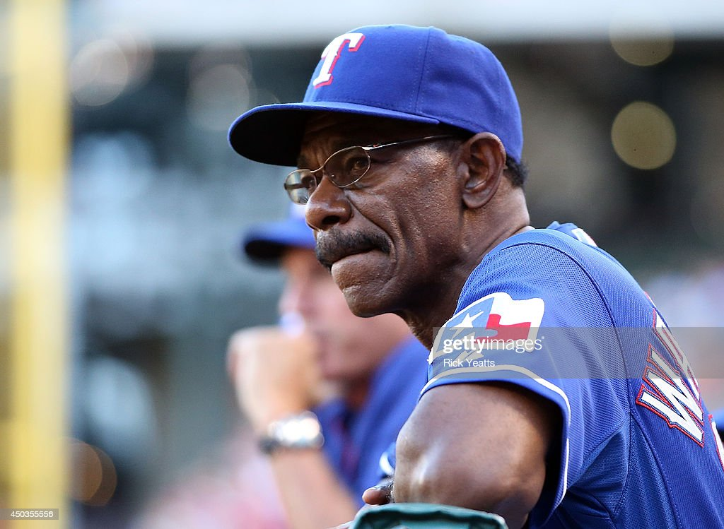 Manager <a gi-track='captionPersonalityLinkClicked' href=/galleries/search?phrase=Ron+Washington&family=editorial&specificpeople=225012 ng-click='$event.stopPropagation()'>Ron Washington</a> #38 of the Texas Rangers looks on from the dugout during the game against the Cleveland Indians at Globe Life Park in Arlington on June 9, 2014 in Arlington, Texas.
