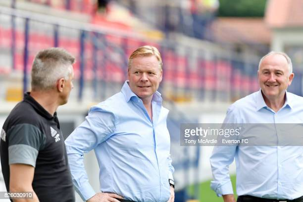 Manager Ronald Koeman of Everton looks on before for the UEFA Europa League Qualifier match between MFK Ruzomberok and Everton on August 3 2017 in...