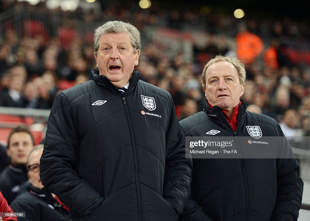 Manager Roy Hodgson of England and assistant manager Ray Lewington look on during the International Friendly match between England and Brazil at Wembley Stadium on February 6, 2013 in London, England.