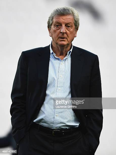 Manager Roy Hodgson of England looks on during an England team stadium visit ahead of the International Friendly match against Italy at Juventus...