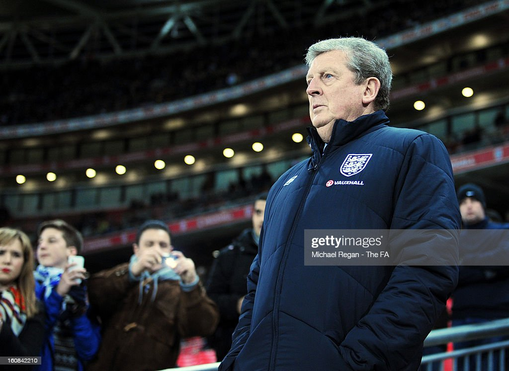 Manager Roy Hodgson of England looks on during the International Friendly match between England and Brazil at Wembley Stadium on February 6, 2013 in London, England.