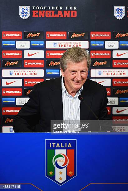 Manager Roy Hodgson of England talks during a press conference after a England team stadium visit ahead of the International Friendly match against...