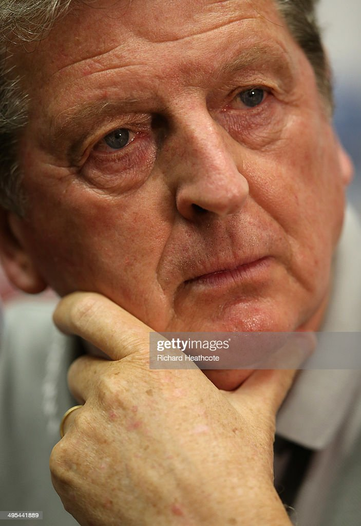 Manager <a gi-track='captionPersonalityLinkClicked' href=/galleries/search?phrase=Roy+Hodgson&family=editorial&specificpeople=881703 ng-click='$event.stopPropagation()'>Roy Hodgson</a> talks to the media during an England press conference at The Sunlife Stadium on June 3, 2014 in Miami, Florida. England are in Florida for warm up matches ahead of the FIFA World Cup Brazil 2014
