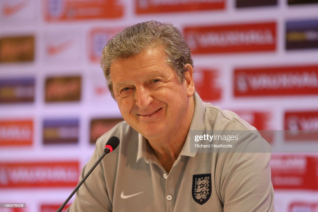 Manager <a gi-track='captionPersonalityLinkClicked' href=/galleries/search?phrase=Roy+Hodgson&family=editorial&specificpeople=881703 ng-click='$event.stopPropagation()'>Roy Hodgson</a> talks to the media in an England press conference at the Urca Military Base on June 10, 2014 in Rio de Janeiro, Brazil.
