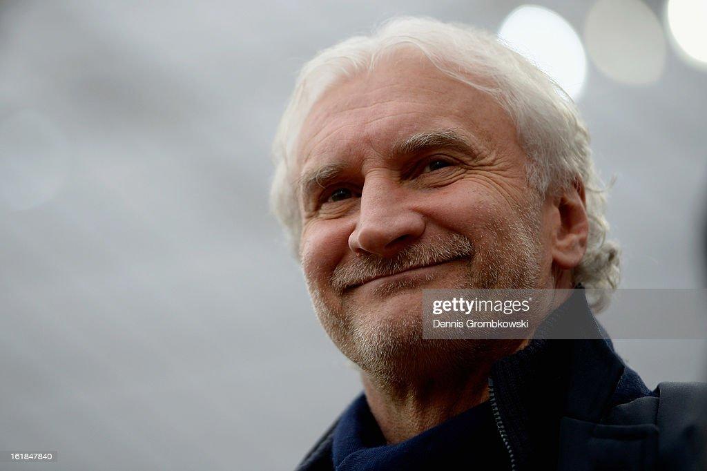 Manager Rudi Voeller of Leverkusen reacts prior to the Bundesliga match between Bayer 04 Leverkusen and FC Augsburg at BayArena on February 16, 2013 in Leverkusen, Germany.