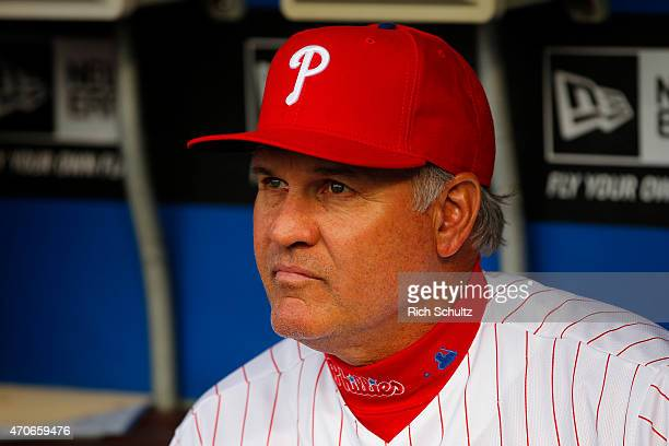 Manager Ryne Sandberg of the Philadelphia Phillies before the start of a game against the Miami Marlins at Citizens Bank Park on April 21 2015 in...