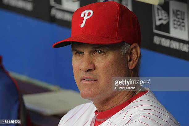 Manager Ryne Sandberg of the Philadelphia Phillies during a game against the San Francisco Giants at Citizens Bank Park on July 21 2014 in...