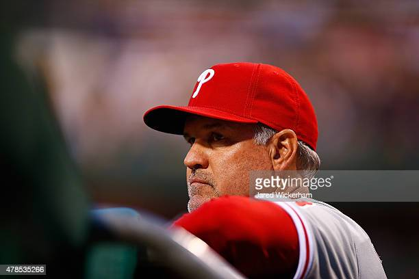Manager Ryne Sandberg of the Philadelphia Phillies in action against the Pittsburgh Pirates during the game at PNC Park on June 12 2015 in Pittsburgh...