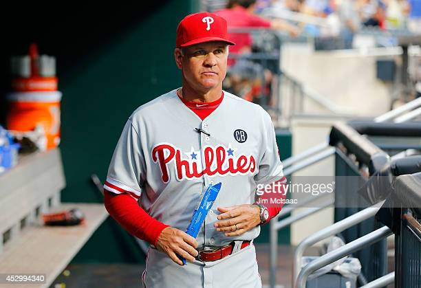 Manager Ryne Sandberg of the Philadelphia Phillies looks on before a game against the New York Mets at Citi Field on July 29 2014 in the Flushing...