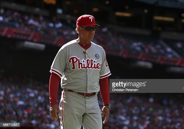 Manager Ryne Sandberg of the Philadelphia Phillies on the field during the MLB game against the Arizona Diamondbacks at Chase Field on April 27 2014...