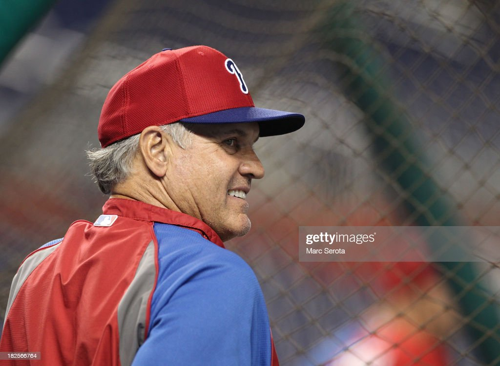 Manager Ryne Sandberg #23 of the Philadelphia Phillies watches his team prepare to play against the Miami Marlins at Marlins Park on September 23, 2013 in Miami, Florida. The Marlins defeated the Phillies 4-0.