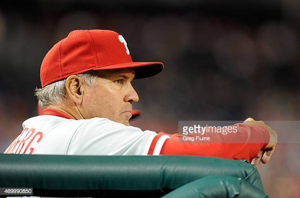 Manager Ryne Sandberg of the Philadelphia Phillies watches the game in the ninth inning against the Washington Nationals at Nationals Park on April...