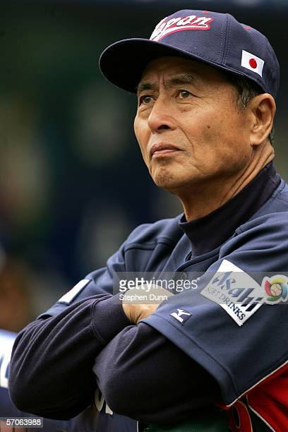 Manager Sadaharu Oh of Team Japan looks on before the Round 2 Pool 2 Game of the World Baseball Classic against Team USA on March 12 2006 at Angel...
