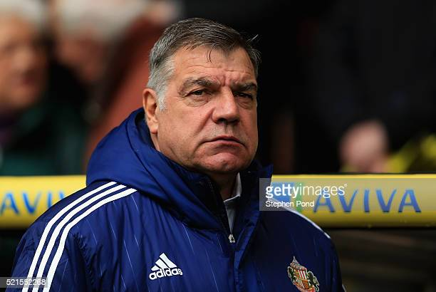 Manager Sam Allardyce of Sunderland looks on during the Barclays Premier League match between Norwich City and Sunderland at Carrow Road on April 16...