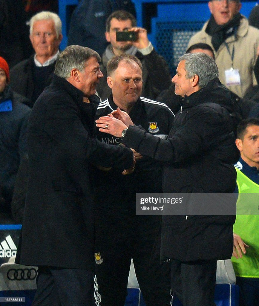 Manager <a gi-track='captionPersonalityLinkClicked' href=/galleries/search?phrase=Sam+Allardyce&family=editorial&specificpeople=214691 ng-click='$event.stopPropagation()'>Sam Allardyce</a> of West Ham shakes hands with Jose Mourinho manager of Chelsea during the Barclays Premier League match between Chelsea and West Ham United at Stamford Bridge on January 29, 2014 in London, England.