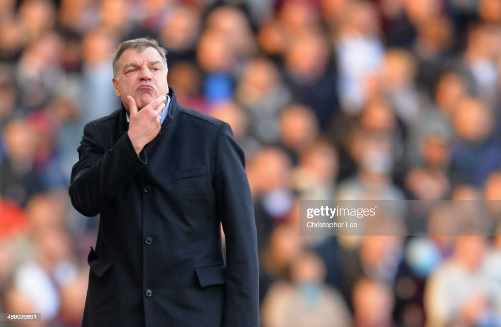 Manager Sam Allardyce of West Ham United looks concerned during the Barclays Premier League match between West Ham United and Crystal Palace at Boleyn Ground on April 19, 2014 in London, England.
