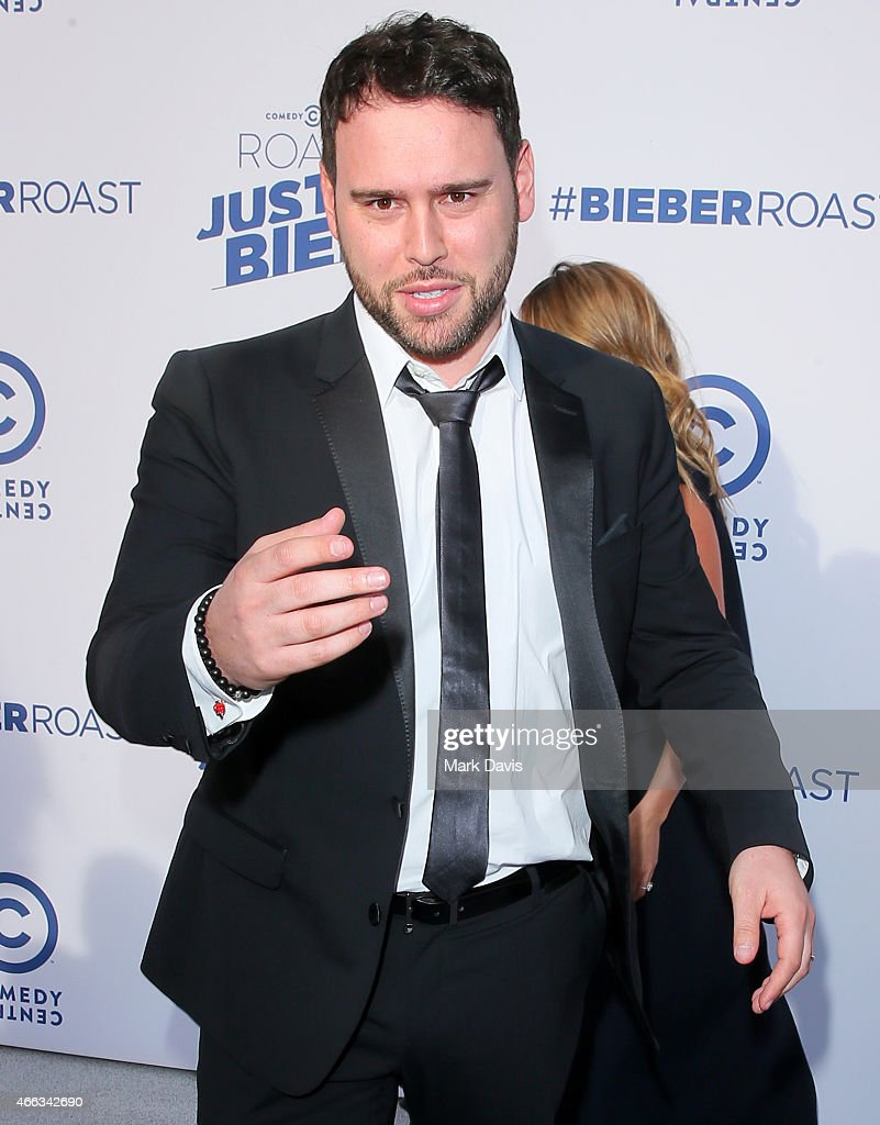 Manager Scooter Braun attends The Comedy Central Roast of Justin Bieber at Sony Pictures Studios on March 14 2015 in Los Angeles California
