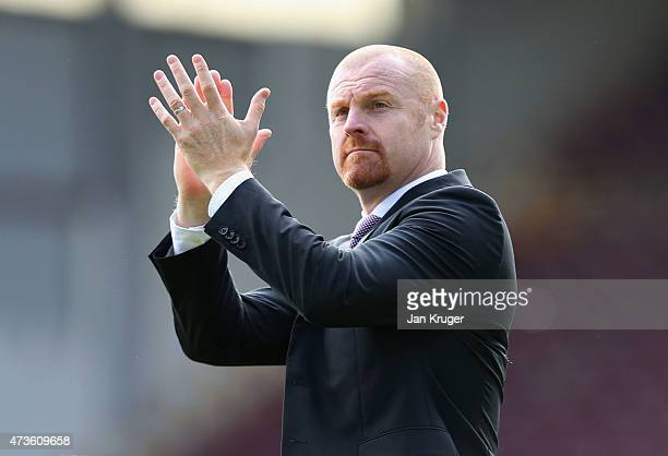 Manager Sean Dyche of Burnley applauds the fans after the Barclays Premier League match between Burnley and Stoke City at Turf Moor on May 16 2015 in...