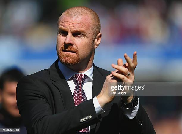 Manager Sean Dyche of Burnley looks on during the Barclays Premier League match between Burnley and Tottenham Hotspur at Turf Moor on April 5 2015 in...
