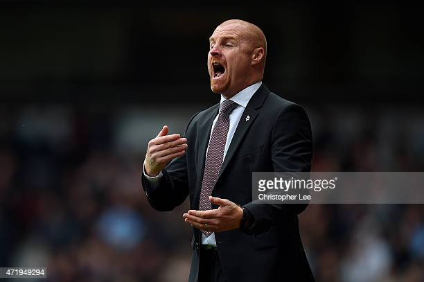 Manager Sean Dyche of Burnley on the touchline during the Barclays Premier League match between West Ham United and Burnley at the Boleyn Ground on...