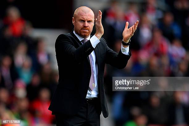 Manager Sean Dyche of Burnley reacts during the Barclays Premier League match between Southampton and Burnley at St Mary's Stadium on March 21 2015...