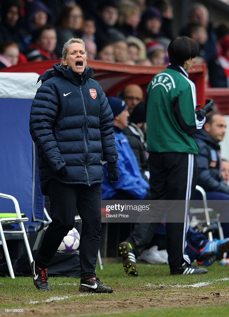 Manager Shelley Kerr of Arsenal Ladies FC shouts instructions during the Women's Champions League Quarter Final match between Arsenal Ladies FC and ASD Torres CF at Meadow Park on March 20, 2013 in Borehamwood, United Kingdom.