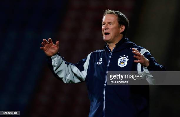 Manager Simon Grayson of Huddersfield Town shows his disappointment during the npower Championship match between Huddersfield Town and Brighton Hove...