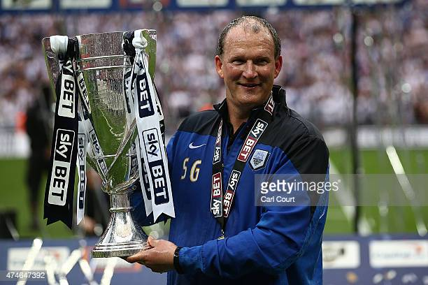 Manager Simon Grayson of Preston North End celebrates after winning the League One playoff final between Preston North End and Swindon Town at...