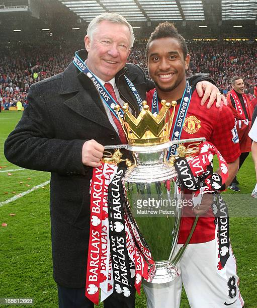 Manager Sir Alex Ferguson and Anderson of Manchester United celebrate with the Premier League trophy after the Barclays Premier League match between...