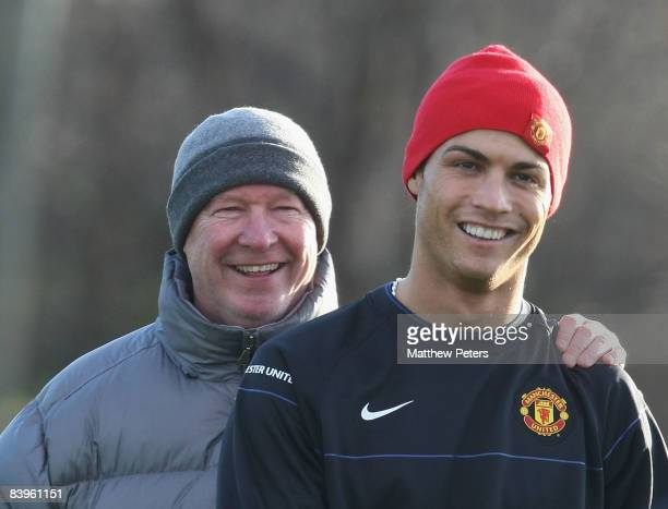 Manager Sir Alex Ferguson and Cristiano Ronaldo of Manchester United in action during a First Team training session at Carrington Training Ground on...