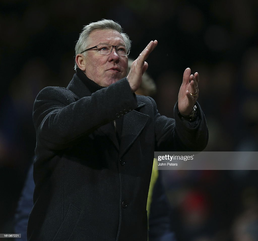Manager Sir Alex Ferguson of Manchester United applauds the fans after the Barclays Premier League match between Manchester United and Everton at Old Trafford on February 10, 2013 in Manchester, England.